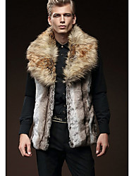 Men's Casual/Daily Simple Fur Coat,Solid Shirt Collar Long Sleeve Winter Gray Faux Fur Medium