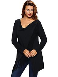 Damen Solide Einfach Lässig/Alltäglich T-shirt,V-Ausschnitt Winter Langarm Schwarz / Grau / Grün / Orange Polyester Mittel