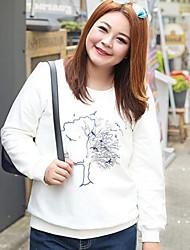 Normal Hoodies Femme Décontracté / Quotidien / Grandes Tailles simple,Imprimé Bleu / Rose / Blanc Col Arrondi Manches Longues Coton