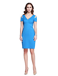 TS Couture® Cocktail Party Dress - Celebrity Style Sheath / Column V-neck Knee-length Satin with