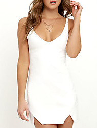Women's Casual/Daily / Formal / Party/Cocktail Sexy / Simple / Cute Bodycon Dress,Solid Round Neck Knee-length Sleeveless White / Black