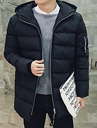 Men's Regular Padded Coat,Simple Casual/Daily Solid-Cotton Polyester Long Sleeve Hooded Black