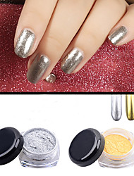 2pcs Gold Silver Chrome Mirror Powder Dust Pigment Magic Aluminum Nail Sequins Glitters DIY Nail Decoration Tools