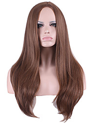 Long Kinky Straight Medium Side Bang Synthetic Wigs for Women Brown Heat Resistant Cheap Cosplay Wigs