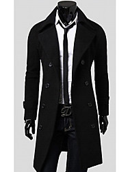 Men's Casual/Daily Simple Trench Coat,Solid Long Sleeve Spring / Fall Black / Brown / Gray Wool Medium