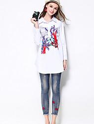 Damen Übergrössen Skinny Jeans Hose-Lässig/Alltäglich Einfach einfarbig Mittlere Hüfthöhe Reisverschluss Baumwolle Dehnbar Herbst