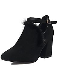 Damen-High Heels-Lässig-Wildleder-Blockabsatz-Komfort-Schwarz / Khaki