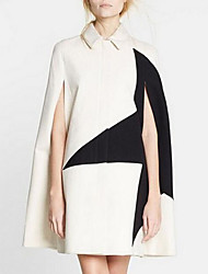 Women's Casual/Daily Sophisticated Cloak/Capes,Color Block Shirt Collar Sleeveless Winter White Faux Fur Medium
