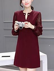Lace Robe Femme Sortie / Grandes Tailles Chic de Rue,Mosaïque Col en V Mini Manches Longues Rouge / Noir Polyester Hiver Taille Normale