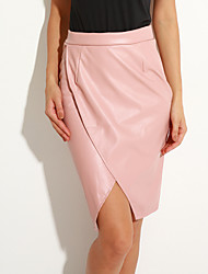 Women's Solid Pink / Green Skirts,Sexy Knee-length