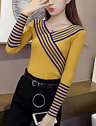 Damen Standard Pullover-Lässig/Alltäglich Ausgehen Einfach Niedlich Gestreift Weiß Schwarz Grau Gelb V-Ausschnitt Langarm PolyesterHerbst