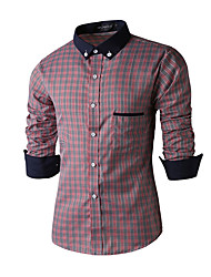 Men's Wedding / Formal / Work Simple / Cute / Street chic All Seasons Shirt,Solid Shirt Collar Long Sleeve Red / Gray Cotton Medium