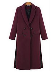 Feminino Casaco Informal Sensual Outono / Inverno,Sólido Vermelho / Preto / Cinza Lã Colarinho de Camisa-Manga Longa Grossa