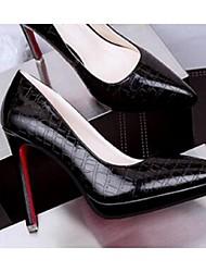 Damen-High Heels-Lässig-PUKomfort-Schwarz / Rot / Silber