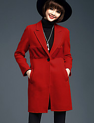 Women's Casual/Daily Simple Coat,Solid V Neck Long Sleeve Winter Red / Black Wool / Polyester Medium