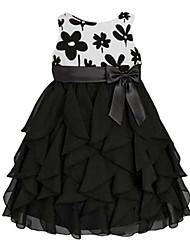 Menina de Vestido Floral Misto de Algodão Verão Preto