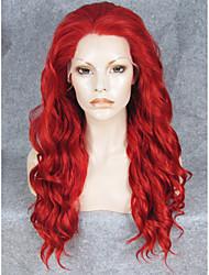 pelucas delanteras 24''hot imstyle cosplay de la venta de la onda de agua de encaje rojo sintético resistente al calor