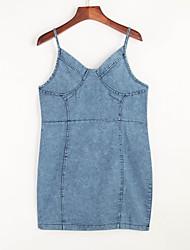 Moulante Robe Aux femmes Soirée / Cocktail Sexy,Couleur Pleine A Bretelles Mini Sans Manches Bleu Coton Eté