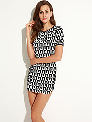 Women's Vintage Sexy Casual Plus Sizes Micro Elastic Short Sleeve Above Knee Dress (Cotton)