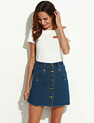 Women's Solid Blue Skirts,Sexy Above Knee