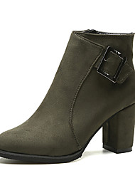 Women's Boots Winter Comfort PU Dress Chunky Heel Others Black Green Gray