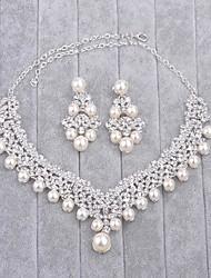 Joyas 1 Collar / 1 Par de Pendientes Perla artificial / Cristal Boda 1 Set Mujer Plateado Regalos de boda