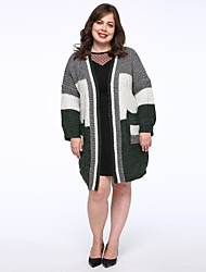 Women's Casual/Daily Simple Long Cardigan,Color Block Green Long Sleeve Cotton Medium Micro-elastic