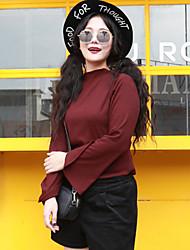 Mujer Regular Pullover Casual/Diario / Tallas Grandes Simple,Un Color Multicolor Manga Larga Poliéster Otoño / Invierno Medio
