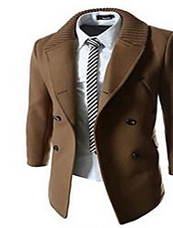 Men's Casual/Daily Simple Coat,Solid Shirt Collar Long Sleeve Fall / Winter Blue / Brown Wool Medium