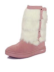 Mädchen-Stiefel-Outddor Lässig-Leder-Flacher Absatz-Schneestiefel Modische Stiefel Komfort-Braun Rosa Rot