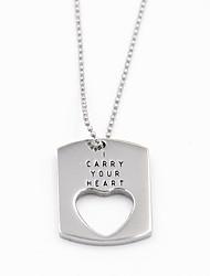 forme de coeur de la mode 316l creux en acier inoxydable collier pendentif pour les amoureux