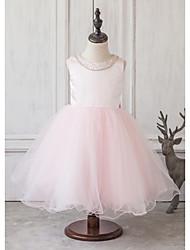 Princess Tea-length Flower Girl Dress - Satin / Tulle Sleeveless Jewel with Beading