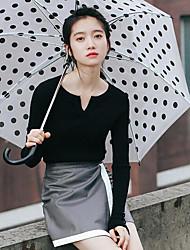 Damen Solide Einfach Lässig/Alltäglich T-shirt,V-Ausschnitt Herbst / Winter Langarm Schwarz Acryl Mittel