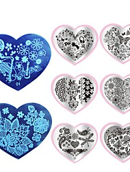 1pcs Love Heart Shape Nail Art Plate  Stamping