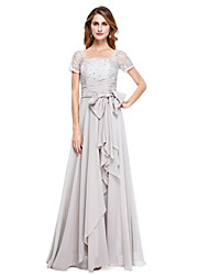 A-Line Square Neck Floor Length Chiffon Mother of the Bride Dress with Beading Bow(s) by XFLS