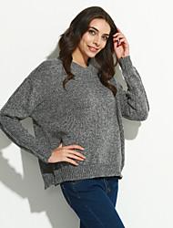 Normal Pullover Femme Sortie Vintage,Couleur Pleine Beige Gris Col Arrondi Manches Longues Acrylique Automne Hiver Epais Micro-élastique
