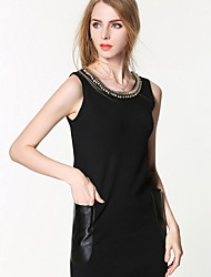 Women's Going out / Casual/Daily Simple / Cute Sweater Dress,Solid Round Neck Knee-length Sleeveless Black Spandex Summer Mid Rise