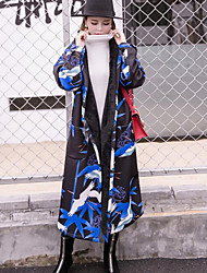 Women's Going out / Party/Cocktail Street chic / Sophisticated Trench Coat,Print Hooded Long Sleeve All Seasons Multi-color Cotton Medium