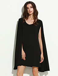 Women's Solid Black Blouse , V Neck Long Sleeve