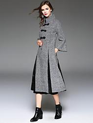 Manteau Femme,Pied-de-poule Sortie / Décontracté / Quotidien / Travail Vintage / Chinoiserie / Sophistiqué Manches Longues Mao GrisLaine