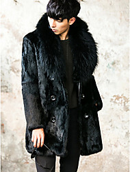 Men's Going out / Casual/Daily Vintage / Street chic Fur Coat,Solid Shirt Collar Long Sleeve Winter Black Faux Fur Thick