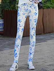 Skinny Jeans Pants,Casual/Daily Street chic Print Mid Rise Button Cotton Polyester Spandex Micro-elastic Fall Winter
