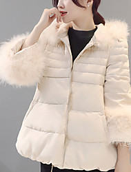 Women's Long Padded CoatSimple / Casual/Daily Solid Cotton Polypropylene / Cotton Long Sleeve Hooded Fur Trim