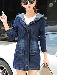 Women's Casual/Daily Simple Fall Denim Jackets,Solid Asymmetrical Long Sleeve Blue Cotton Medium