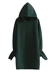 Women's Going out / Casual/Daily Simple / Street chic Sheath Dress,Solid Hooded Above Knee Long Sleeve Green Cotton Fall / Winter Mid Rise