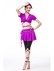 Belly Dance Outfits Women's Training Polyester 4 Pieces Short Sleeve Dropped Pants Skirt Top Waist Belt M:32   L:33
