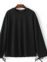 Tee-shirt Femme,Fleur Sortie / Sportif simple / Actif Toutes les Saisons Manches Longues Col Arrondi Noir Coton / Polyester Moyen