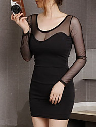 Women's Casual/Daily / Party/Cocktail / Club Sexy / Simple Bodycon / Sheath Dress,Solid Round Neck Mini Long Sleeve Black RayonSpring /