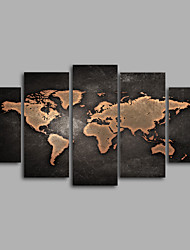 Stretched Canvas Print / Unframed Canvas Print  World Map ModernFive Panels Canvas Any Shape Print Wall Decor For Home Decoration
