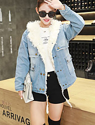 Women's Going out / Casual/Daily Simple / Street chic Denim Jackets,Solid Hooded Long Sleeve Fall / Winter Blue Cotton Medium